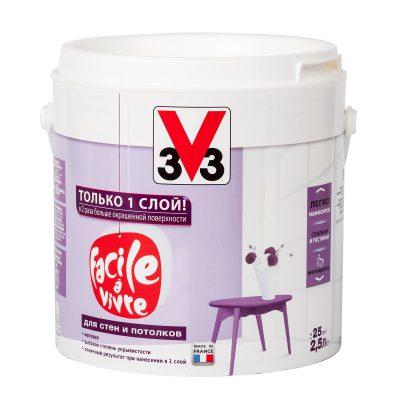 Моющаяся краска для стен и потолков V33 Facile a Vivre